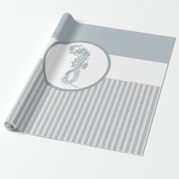 Beach Themed seahorse blue stripe beach house wrapping paper
