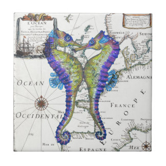 Seahorse Blue Small Square Tile