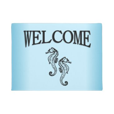 Beach Themed Seahorse Blue Welcome Doormat