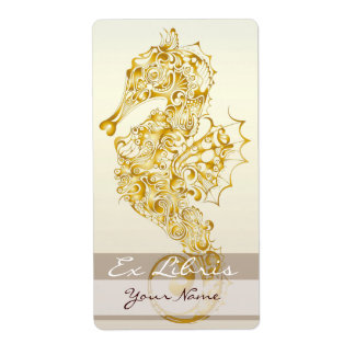 Seahorse Book Plate 5 - gold Label