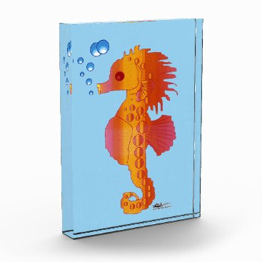 Beach Themed Seahorse Bubble Baby Acrylic Award