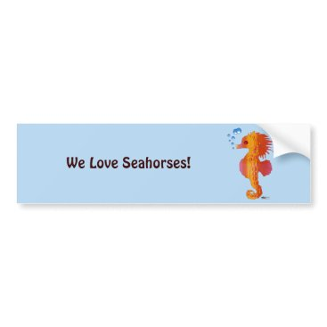 Beach Themed Seahorse Bubble Baby Bumper Sticker