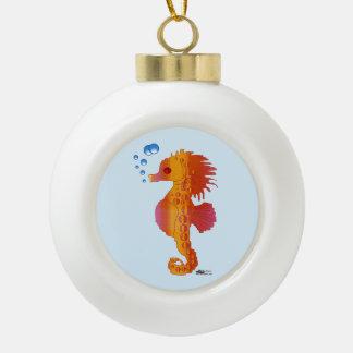 Seahorse Bubble Baby Ceramic Ball Christmas Ornament