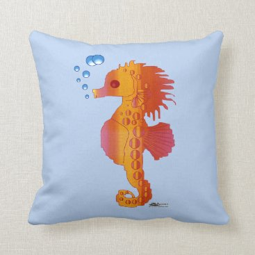 Beach Themed Seahorse Bubble Baby Throw Pillow