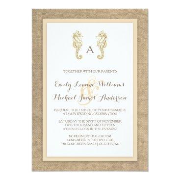 Beach Themed Seahorse Burlap Beach Tropical Wedding Invitation