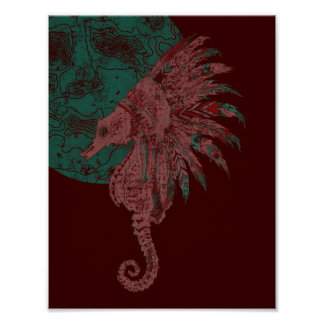 seahorse by the moon poster