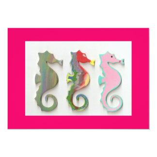 seahorse celebration 5x7 paper invitation card