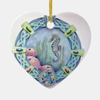 Seahorse-celtic zodiac-may 13 to june 9 ceramic ornament