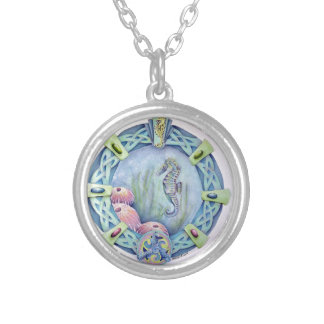 Seahorse-celtic zodiac-may 13 to june 9 round pendant necklace