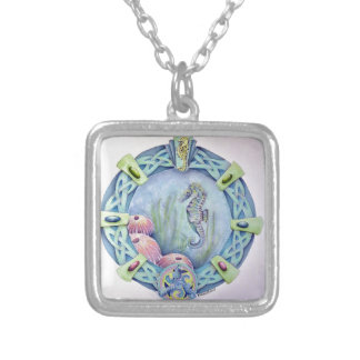 Seahorse-celtic zodiac-may 13 to june 9 square pendant necklace