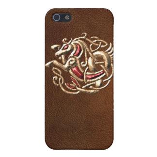 Seahorse céltico en el cuero iPhone 5 carcasa