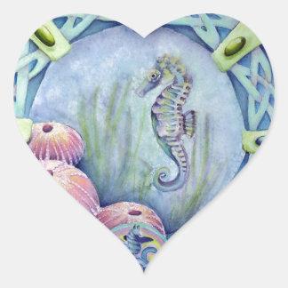 Seahorse-céltico zodiaco-pueden 13 al 9 de junio pegatina en forma de corazón