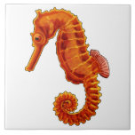 "Seahorse Ceramic Tile<br><div class=""desc"">The lonely little Seahorse. Fill your bathroom with color and see this little creature smile.</div>"