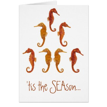 Christmas Themed Seahorse Christmas Tree Card