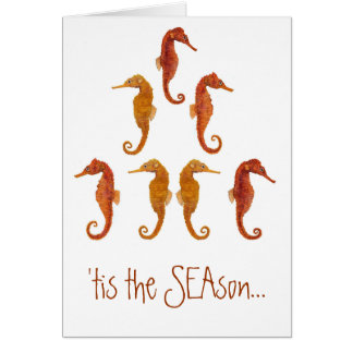 Seahorse Christmas Tree Stationery Note Card