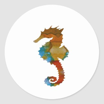 Beach Themed Seahorse Classic Round Sticker