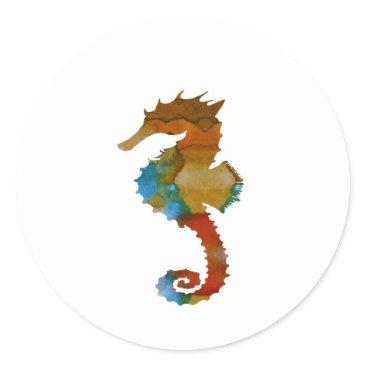 Beach Themed Seahorse Classic Round Sticker
