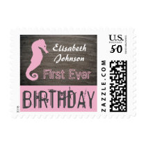 Seahorse Clay Slab First Ever Birthday Postage