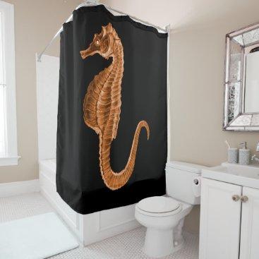 Beach Themed Seahorse coastal nautical ocean black shower curtain