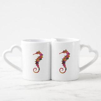 Seahorse colorido de la acuarela taza para enamorados