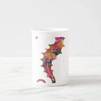 Seahorse colorido de la acuarela taza de porcelana