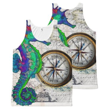 Beach Themed Seahorse Compass All-Over-Print Tank Top