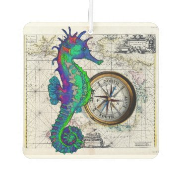 Beach Themed Seahorse Compass Car Air Freshener