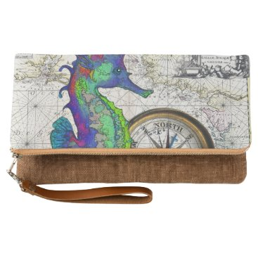 Beach Themed Seahorse Compass Clutch