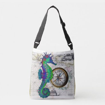 Beach Themed Seahorse Compass Crossbody Bag