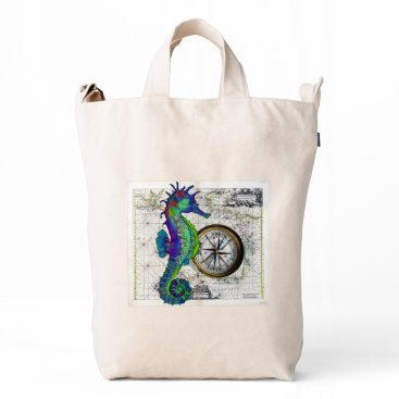 Beach Themed Seahorse Compass Duck Bag