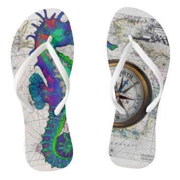 Beach Themed Seahorse Compass Flip Flops