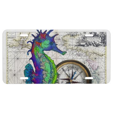 Beach Themed Seahorse Compass License Plate