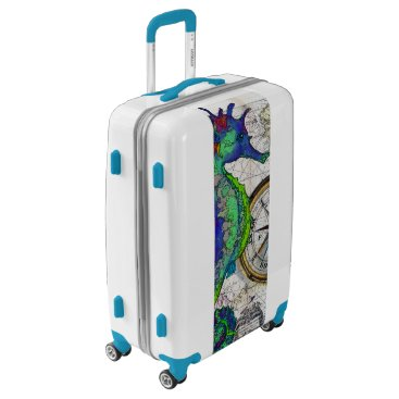 Beach Themed Seahorse Compass Luggage