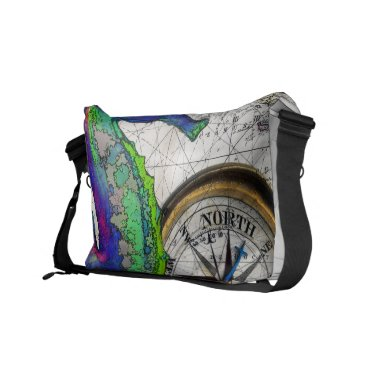 Beach Themed Seahorse Compass Messenger Bag