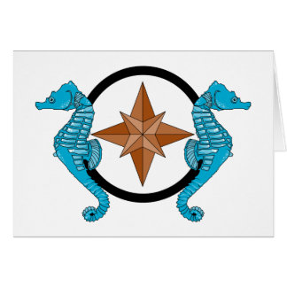 Seahorse Compass Rose Card