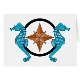 Seahorse Compass Rose Card
