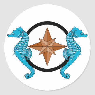 Seahorse Compass Rose Classic Round Sticker