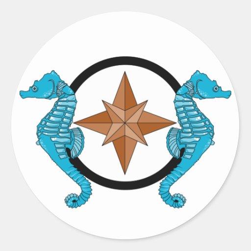 Seahorse Compass Rose Classic Round Sticker