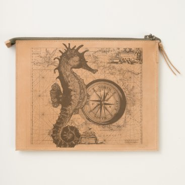 Beach Themed Seahorse Compass Travel Pouch