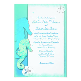 Seahorse Couple, 5x7 Aqua Wedding Invitations