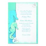 "Seahorse Couple, 5x7 Aqua Wedding Invitations 5"" X 7"" Invitation Card"