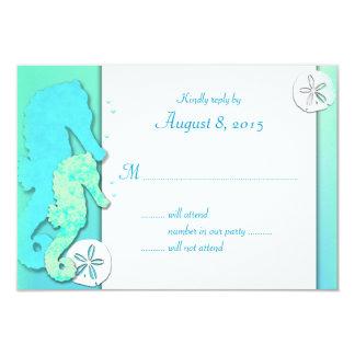 Seahorse Couple, Aqua Wedding RSVP Cards