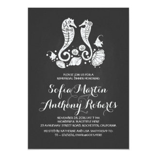 Seahorse couple beach rehearsal dinner invitation