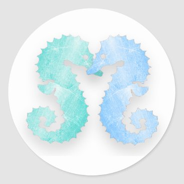 Beach Themed Seahorse Couple Blue Green Seahorses Kiss Stickers