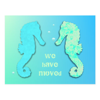 Seahorse Couple New Address Template Announcement Postcard