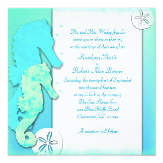 Seahorse Couple Ombre Aqua Wedding Card
