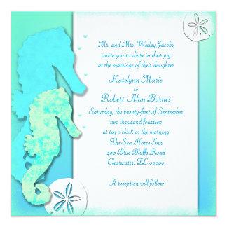 Seahorse Couple, Square Aqua Wedding Invitations