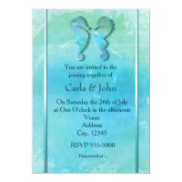 Seahorse Couple Watercolor Beach Wedding Invite