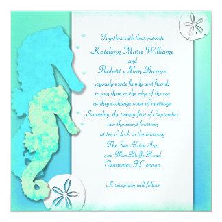 Seahorse Couple Wedding Set, Couple Inviting 5.25x5.25 Square Paper Invitation Card