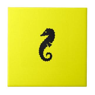 Seahorse de Glow_Black-on-Yellow del océano Tejas Cerámicas